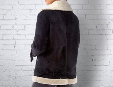 Womens Suedette Biker Jacket in Jet Black